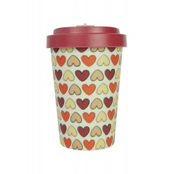 Pahar bambus Retro Hearts Red 400 ml