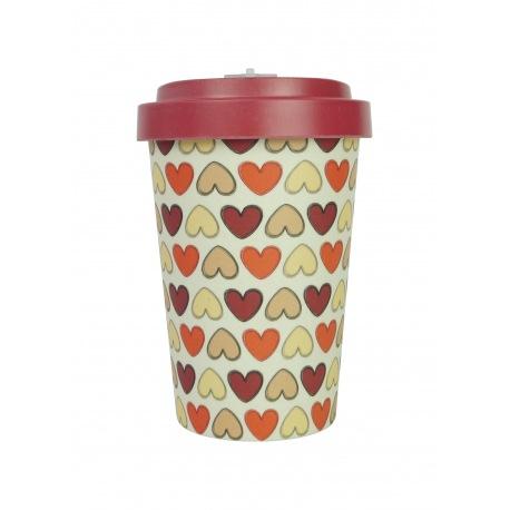 Pahar bambus Retro Hearts Red 400 ml