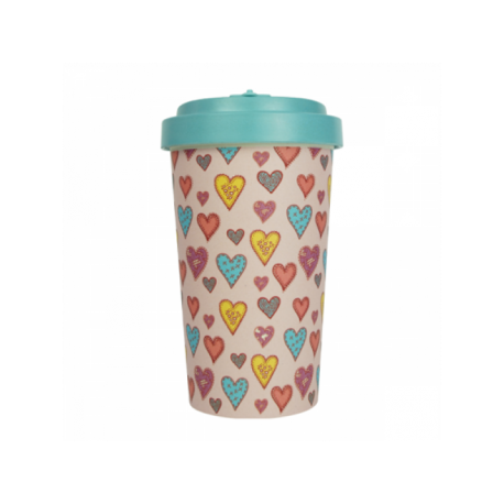 Pahar bambus Candy Hearts Turquoise Blue 500 ml