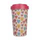 Pahar bambus Candy Hearts Pink 500 ml